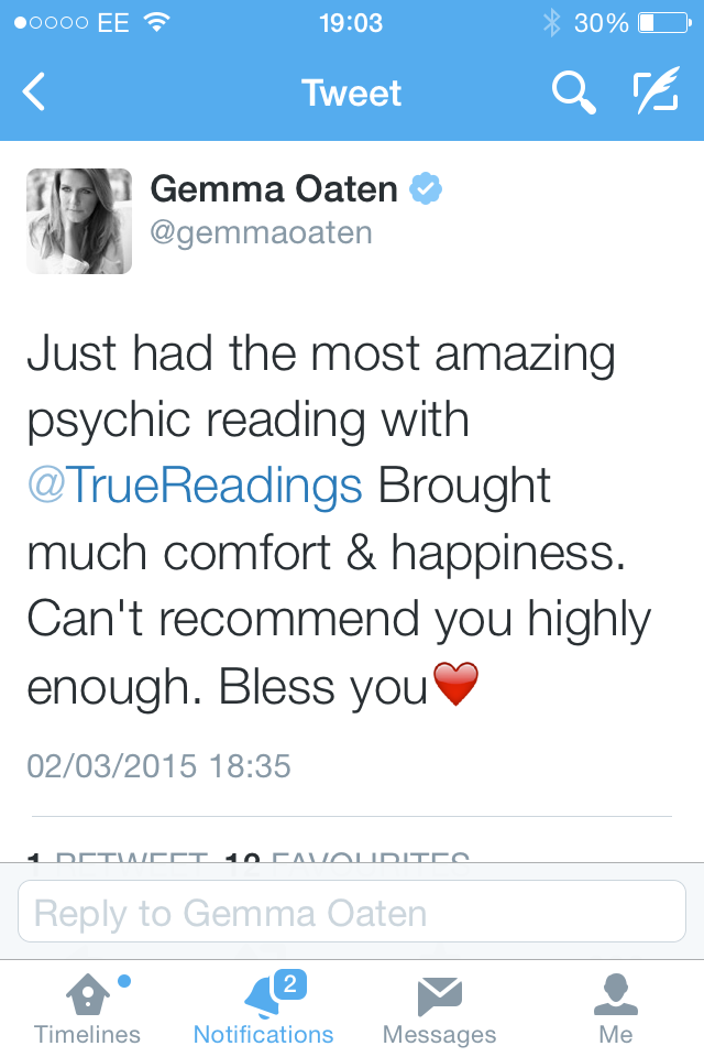 Gemma Oaten gets a psychic reading